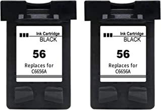 Gmoher Remanufacturado Cartucho de Tinta para HP 56XL Cartucho de Tinta HP 56 C6656A Compatible con HP Photosmart 7762 7960, HP Deskjet 5150 5550, HP Officejet 5610, HP PSC 2110 (2 Negro)