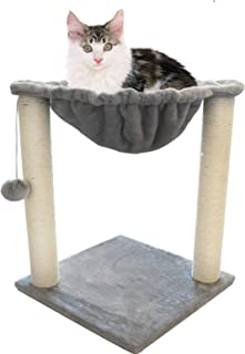 JJW Cat Tree Cat Tower with Hammock Bed and Scratching Post,Pet Bed Scratch Lounge Furniture with Hanging Ball, Best for Kitten & Large Kitty Cats-All, Beige