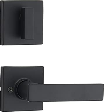 Amazon Basics Contemporary Single Cylinder Door Handleset with Stamford Lever - Matte Black