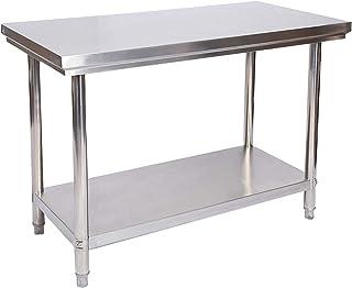 Table de travail en acier inoxydable Table de jardin 120 x 60 x 85 cm