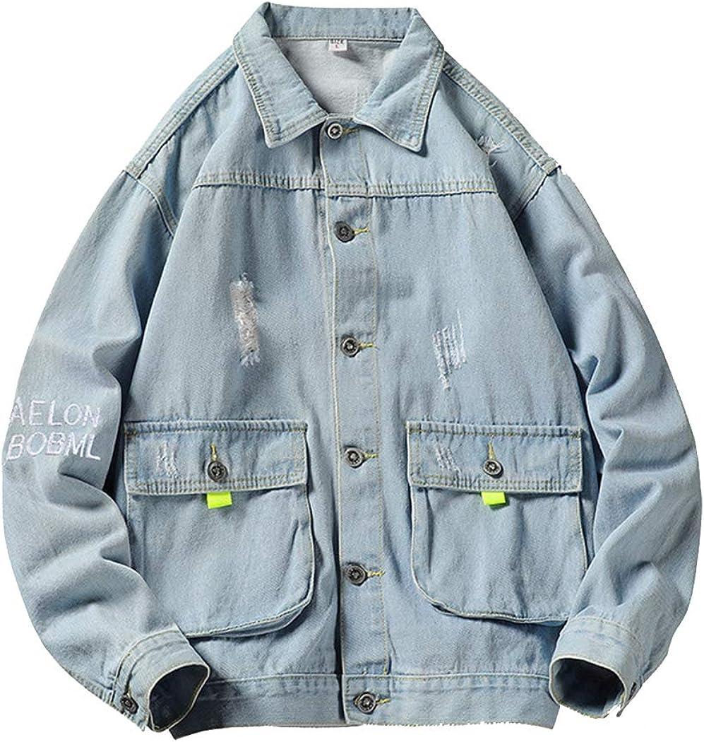 Jackets Lightweight Men's Denim Jacket Autumn Jacket Hong Kong Style Casual Youth Workwear-B-XXXL