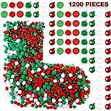 Conjunto de 1200 Adornos Artesanales Navideños, Botones de Resina Navidad Campanitas Navideñas y Adornos de Pompones para Navidad DIY Accesorios de Decoración de Costura Artesanal