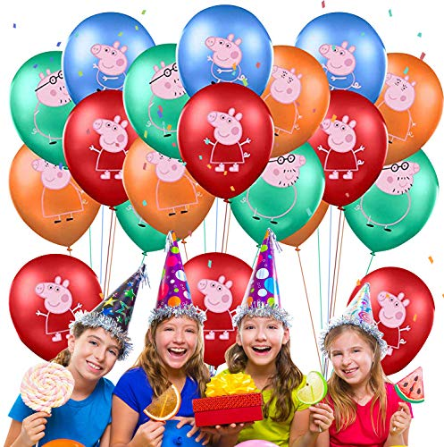 Qemsele Globos para fiestas de Niños, 50Pcs Globos Fiesta Cumpleaños Decoración Dibujos animados 12inch Globos de latex con confeti dentro y Cintas, para Favores Regalo Carnaval Boda(Peppa Pig)