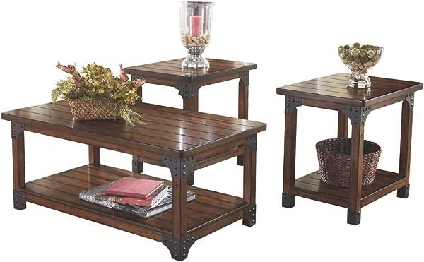 Ashley Furniture Signature Design Murphy 3 Piece Occasional Table Set Medium Brown