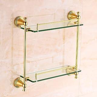 Rishx Chapado en Oro Toallero Titular Europeo Golden Glass Baño Estante Antiguo Tallado Doble Aparador Marco Accesorios Ac...
