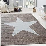 Paco Home Alfombra De Diseño con Estampado Moderno De Estrella De Velour Corto Mezclada En Marrón Y Beige, tamaño:80x250 cm