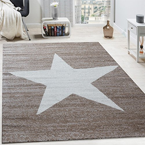 Paco Home Alfombra De Diseño con Estampado Moderno De Estrella De Velour Corto Mezclada En Marrón Y Beige, tamaño:80x150 cm