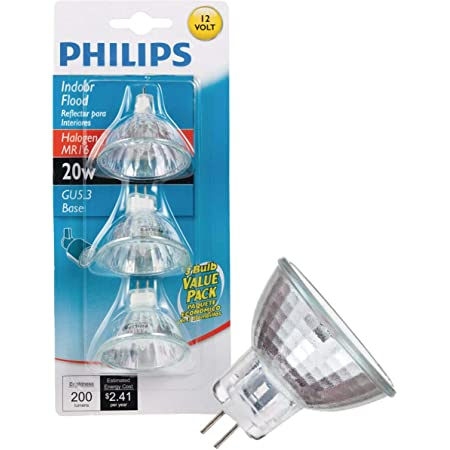 Philips Halogen Light Bulbs//Landscape Indoor or Outdoor Flood//Dimmable 20w Mr16 12v 2 Pin 36 Angle Gu5.3 Base Pack of 10 Bundle with Storage Bag