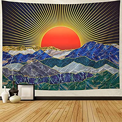Generleo Trippy Mountain Tapestry Psychedelic Sun Sunset Tapestry Japanese Art Wall Tapestry Nature Tapestry Wall Hanging for Men Home Decor