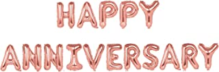 TRIXES Happy Anniversary Balloons – Rose Gold Foil Letters - 16 Inch Large Size – Perfect Party Decoration Supplies for Family Milestone Celebrations and Events