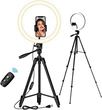 """TONOR 12"""" Large Selfie Ring Light with Tripod Stand, Bluetooth Remote Shutter with Phone Holder..."""