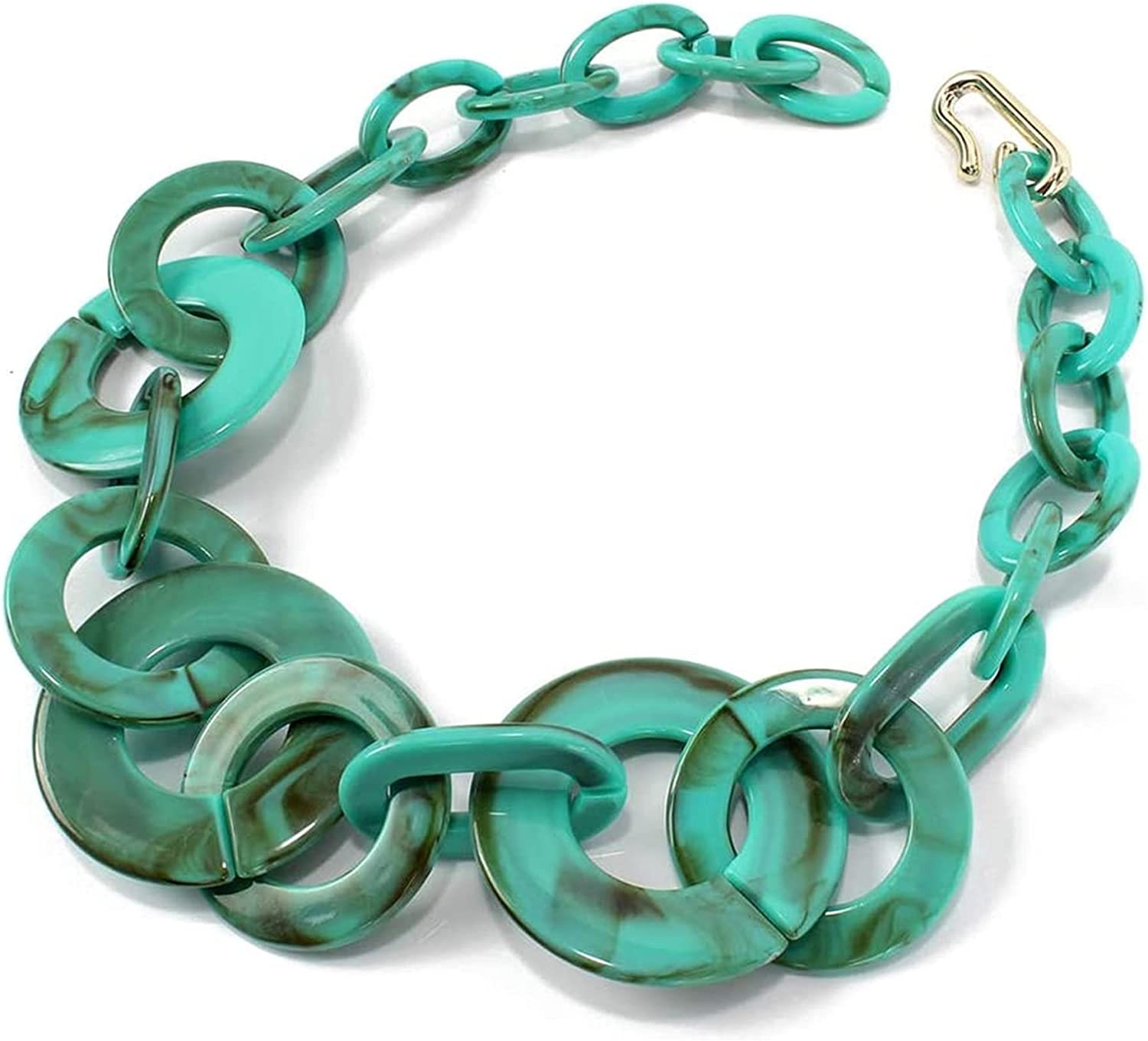 DFWY Geometric Pendant Statement Necklaces for Women,Acrylic Chunky Collar Twist Chain,Handmade Resin Exaggeration Sweater Choker Jewelry (Color : Green)