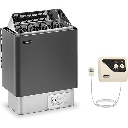 Uniprodo Kit Poêle Pour Sauna 6kw Chauffage Électrique À Sauna Et Unité Tableau Boitier Système De Commande UNI_SAUNA_G6.0KW-SET-2 (Cabines de 5-9 m³, 30-110 °C, Commande Externe)