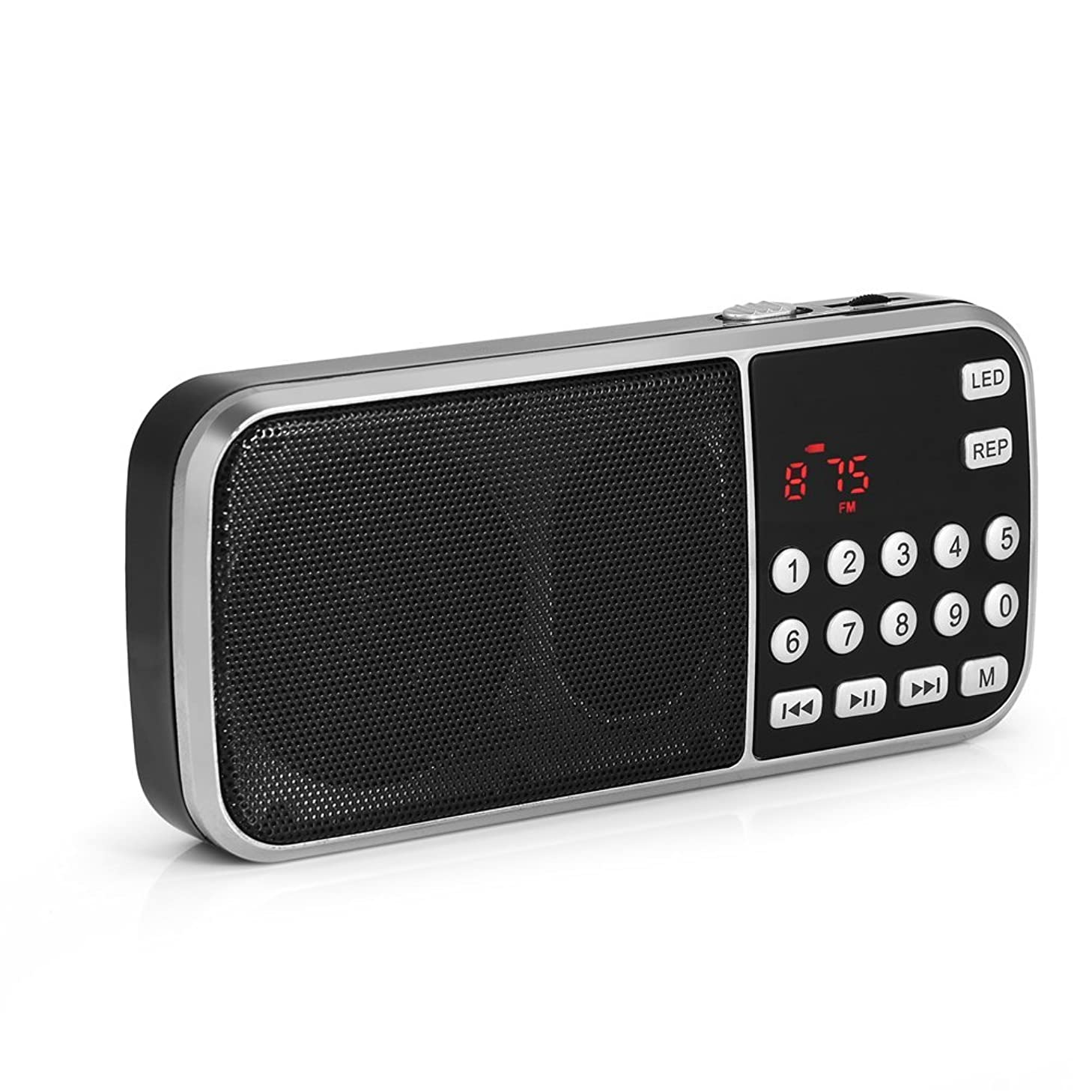 Zerone Y-501 Portable FM Radio, Digital FM Radio Audio Player with Rechargeable Li-ion Battery and LED Flashlight Support TF Card, U disk, MP3 Player
