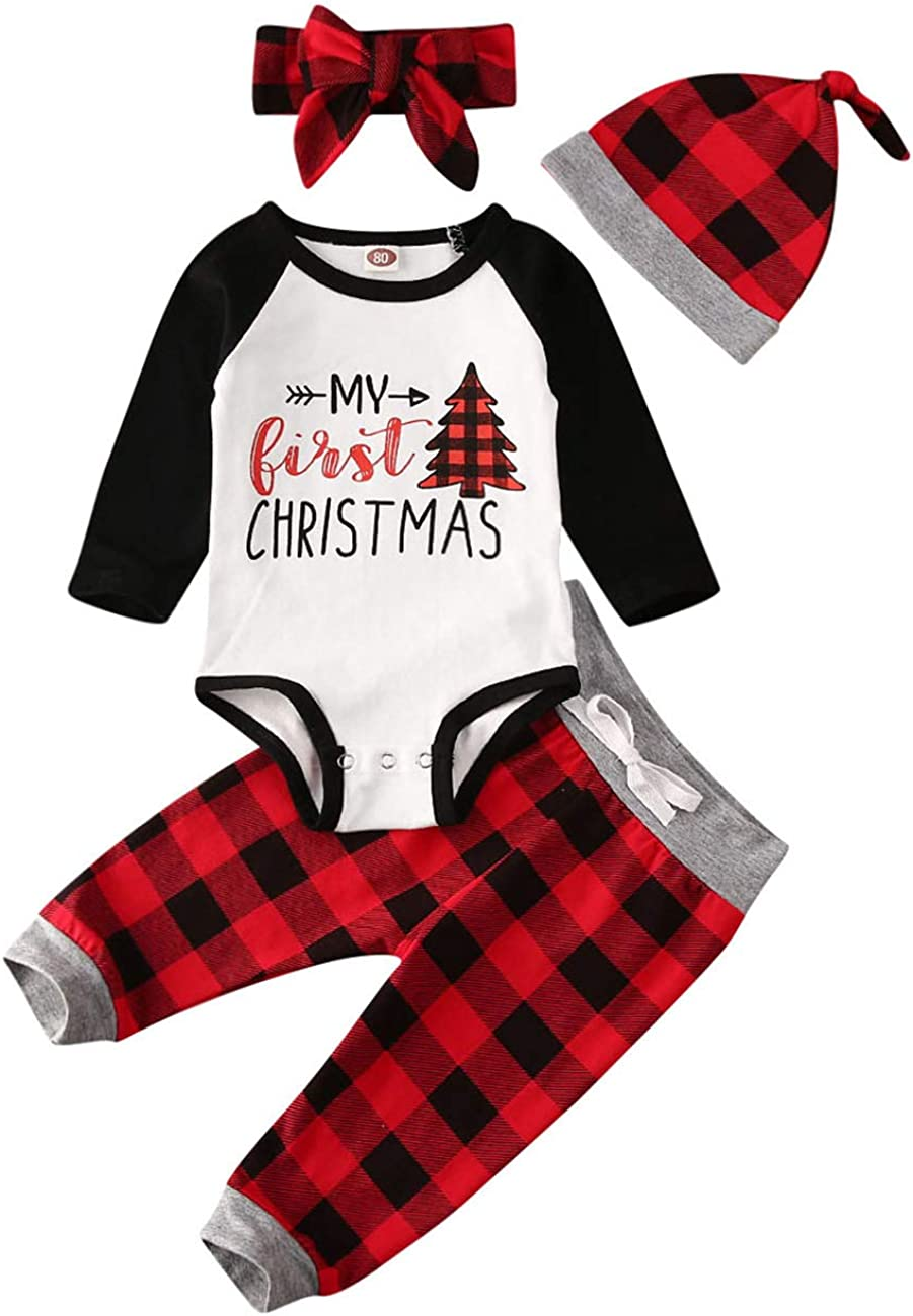 My First Christmas 4pcs Plaid Outfit Newborn Baby Boy Girl Raglan Rompers Drawstring Pant Set
