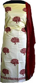 KATHIWALAS Women's Cotton Silk Kutch Work Bandhani/Bandhej Unstitched Dress Material Suit (CREAM RED, Free Size)
