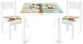 comprar comparacion Leomark Mesa y sillas de Madera para niños, 1 Mesa y 2 Silas, Mesas y sillas Infantiles de Madera, Juego de Muebles Infant...