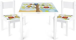 Leomark Table et 2 chaises Enfant Motif HIBOUX Chambre Enfant Meuble Enfant Mobilier Chaise d'enfant Baby