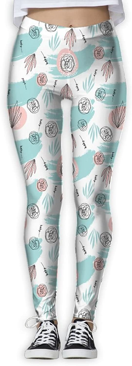 Abstract Hand Drawn Floral Doodle Pretty Women colorful Yoga Pants Workout Running Leggings