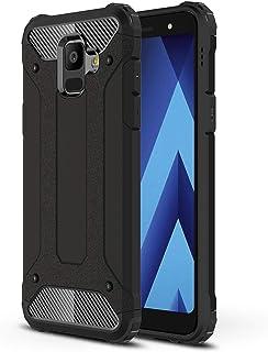 LXHGrowH Funda Samsung Galaxy A6 2018, Fundas 2in1 Dual Layer Anti-Shock 360° Full Body Protección TPU Silicona Gel Bumper y Duro PC Armadura Carcasa para Samsung Galaxy A6 2018, Negro