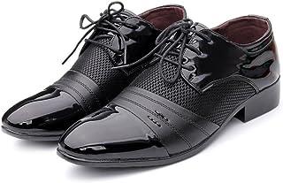 オックスフォードシューズ 革靴 メンズ ビジネスシューズ スムーズPUレザー 紳士靴 スプライス アッパー レースアップ 通気メッシュ 軽量 通勤 (Color : ブラック, サイズ : CN28.5)