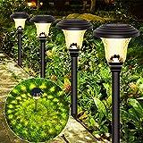 Solarleuchten Garten, 4 Stück Solar Gartenleuchte aus Edelstahl, IP65 wasserdichte Solarlampen für Garten Solarleuchte Dekoration Licht für Außen Fahrstraßen Sicherheits Lichter Garten Patio Rasen
