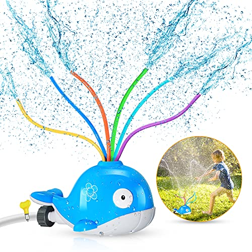 iBaseToy Whale Water Sprinkler for Kids, Sprinkler Toy with Wiggle Tubes...