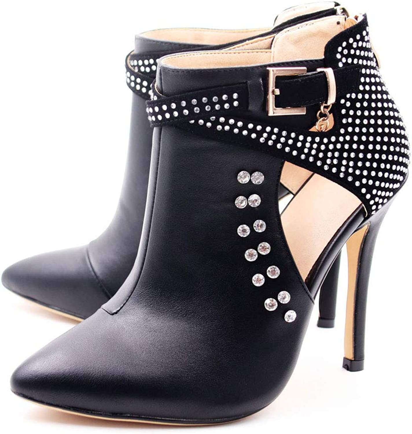 Hinyyrin Ankle Boots for Women,Bare Legged Pointed Women's Boots, Rhinestone Booties Black