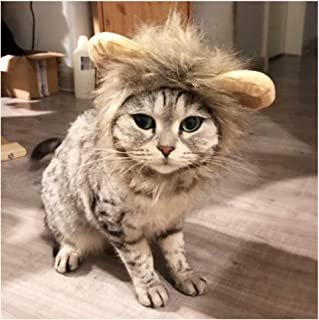 Delifur Cat Lion Mane Hair Hat with Ear Funny Halloween Costume for Dogs Cats