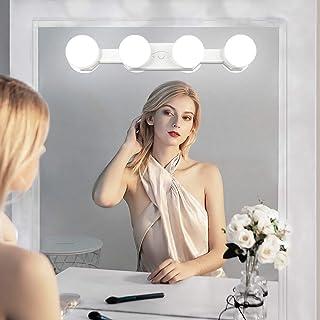 Qyh Luces para Espejos de Maquillaje Sin cuerdaRecargable Portátil con 4 Luces Led Brillo Ajustable y Temperatura de C...