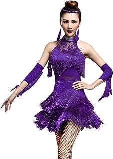 ZX Women's Rhinestone Tassel Flapper Latin Rumba Dance Dress 4 Pieces Outfits