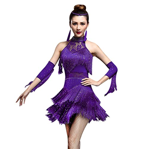 0f8d49dbfcaca ZX Women's Rhinestone Tassel Flapper Latin Rumba Dance Dress 4 Pieces  Outfits
