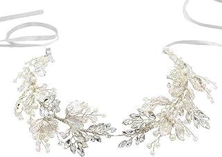 Bride Headpiece Silver Leaf Rhinestones Heabdand Wedding Hair Jewelry Bridal Hair Accessories for Bride Women (Color : Sil...