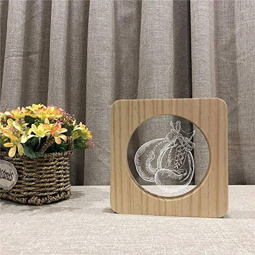 Gpzj Nachtlicht, Boxhandschuhe Design 3D, led Acryl Holz Nachtlampe, Tischlichtschalter Control Carving Lampe, für Kinderzimmer Dekoration Geschenk