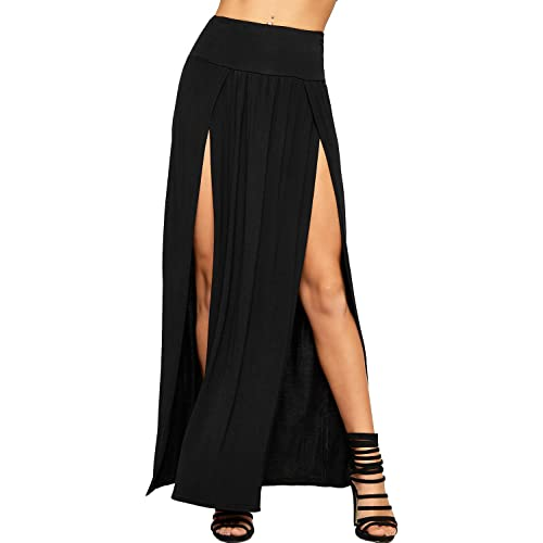 5678c7ba27 WearAll Womens Double Split Maxi Long Skirt Ladies Plain Basic Two Side  Slit 8-14