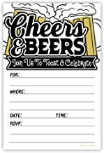 Cheers and Beers Party Invitations (20 Count) with Envelopes - Adult Mens Milestone Birthday, Retirement, Surprise Party