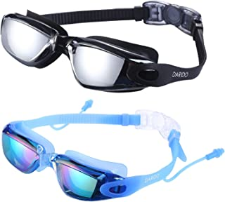 DARIDO Swim Goggles,Swimming Goggles Anti Fog UV Protection No Leaking,Best Clear Vision Competition Training Triathlon Swim Goggles of 2 Pack for Adult,Men,Women,Youth,Kids…