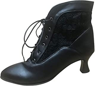 Funnygals - Women Pointy Toe Lace Up Kitten Heel Casual Leather Ankle Boots Booties with Lace Stitching Black Size 5-11