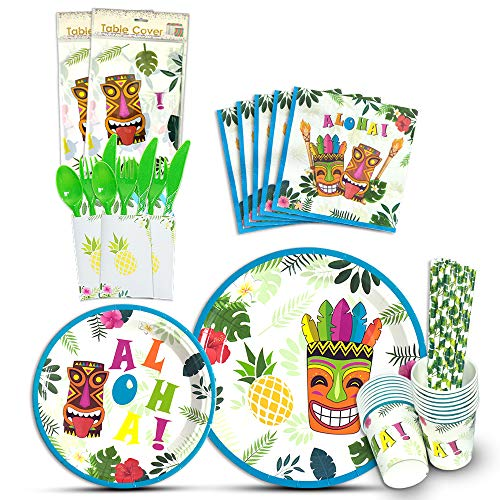 WERNNSAI Aloha Luau Tableware Set - Hawaiian Tropical Tiki Tropical Summer Pool Party Supplies Includes Cutlery Bag Table Cover Plates Cups Napkins Straws Utensils Serves 16 Guests 146 PCS