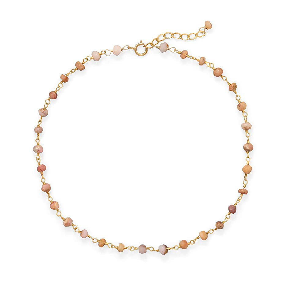 Precious Stars Jewelry 14k Gold Plated Sterling Silver Pink Opal Anklet