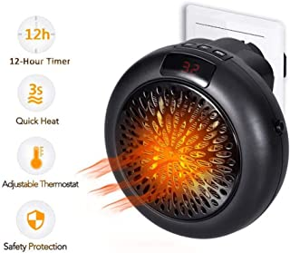 DNPOOK Insta Heater - Mini PTC Estufa Calefactor Eléctrico Portátil Calentador de Ventilador para Uso Personal,Pantalla LED con Termostato Ajustable, Temporizador de 12 Horas Bajo Consumo
