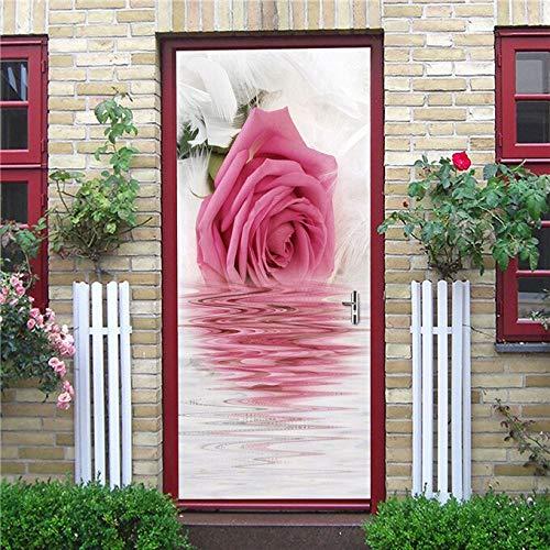 Etiqueta engomada Rosada de la decoración de la Puerta del diseño del hogar Autoadhesivo Impermeable Mural Muebles Actualización Papel Tapiz Sweet Girl Style Decal A1 77x200cm