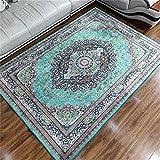 alfombras para Salon,Alfombra Verde Durable Agua Lavado de Costura Té de Polvo Varios Piso Alfombra ,Decoracion hogar Salon -Verde_80x120cm