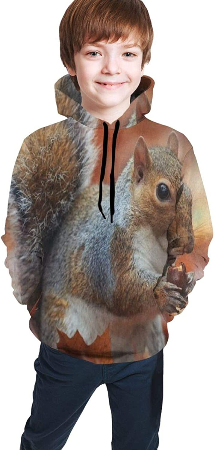 ALOVEUZ Autumn Forest Funny Squirrel Hoodies for Kids Boys Girls Hooded Sweatshirt Pullover Long Sleeve Active