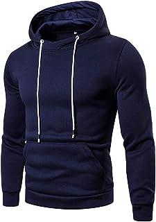 Pullover Felpa Uomo con Cappuccio Manica Lunga Slim Fit Moderna Leggera con Coulisse Tascabile Business Casual Sport Fitne...