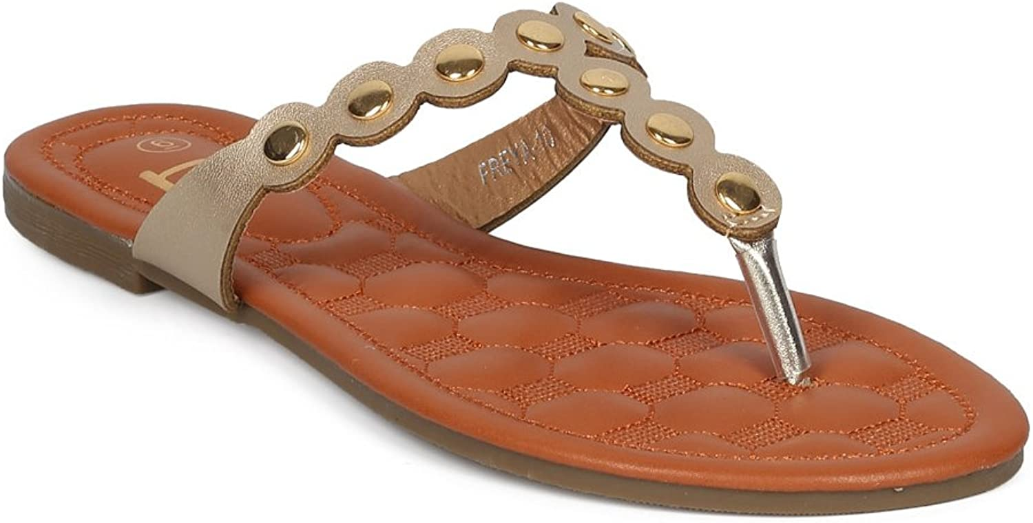 Alrisco Women T-Strap Metallic Embellished Thong Sandal HD60