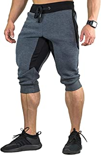 MINHAO Men's Cotton Casual Shorts 3/4 Jogger Capri Pants Athletic Gym Running Pants with Zipper Pockets