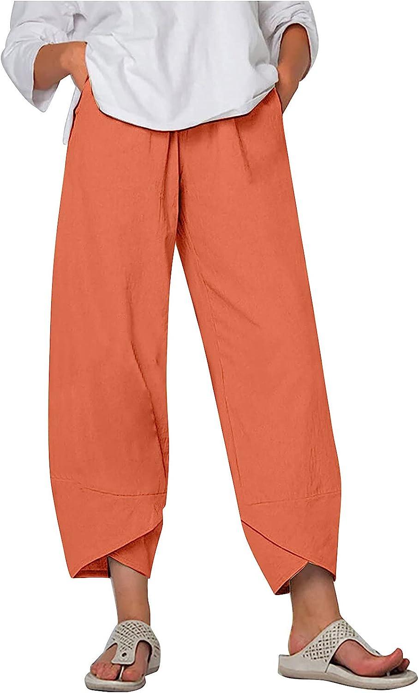 NEEKEY Women Casual Pants Sweatpants Cotton Linen Capris Pants Elastic Waist Pant Pocket Loose Harem Pants Cropped Trousers