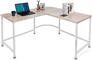 Lauraland Computer Desk, L Shaped Modern Computer Corner Table Workstation Home Office, Oak
