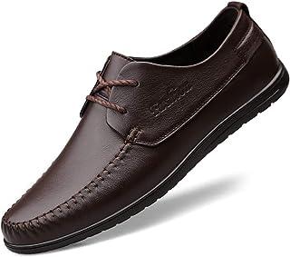 CAIFENG Moda Casual Oxford para Hombres Vestido de Costura Zapatos de Ocio Lace Up Cuero Genuino Pacón Plano Talón Transpi...